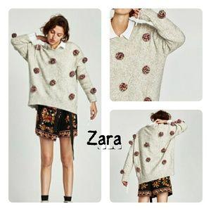 Zara Oversized Pom Pom Sweater Size Medium